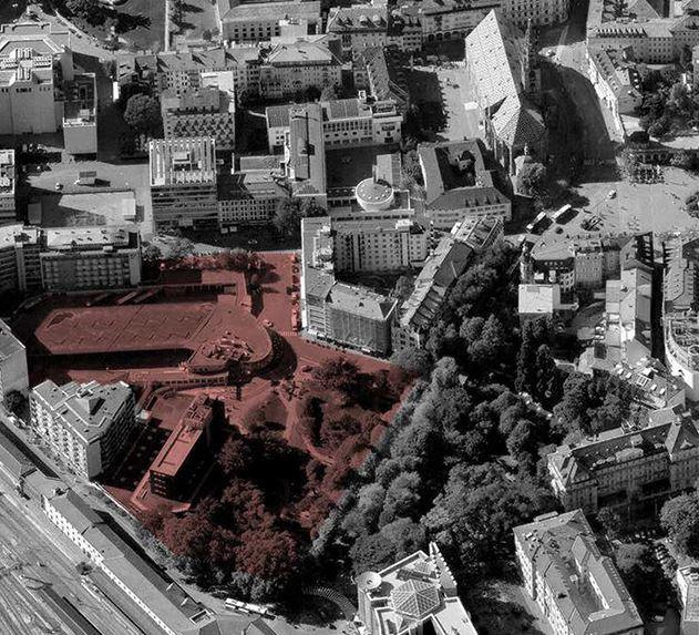 L'areas che verrà cementificata per realizzare il Kaufhaus